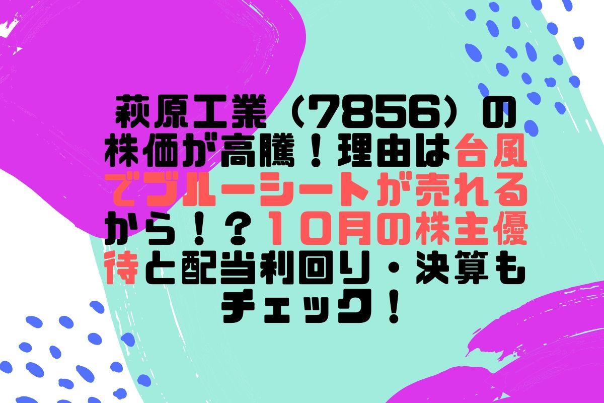 萩原工業(7856)の株価が高騰したワケは【ブルーシート】!?株主優待と配当利回り・決算も確認してみた。
