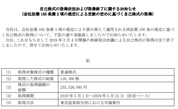 JCUの5月の自社株買い