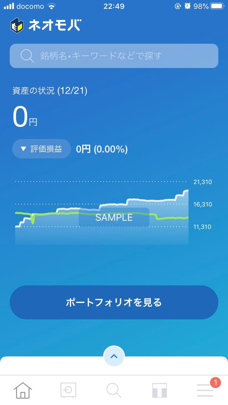 SBIネオモバイル証券アプリ資産状況グラフ画面