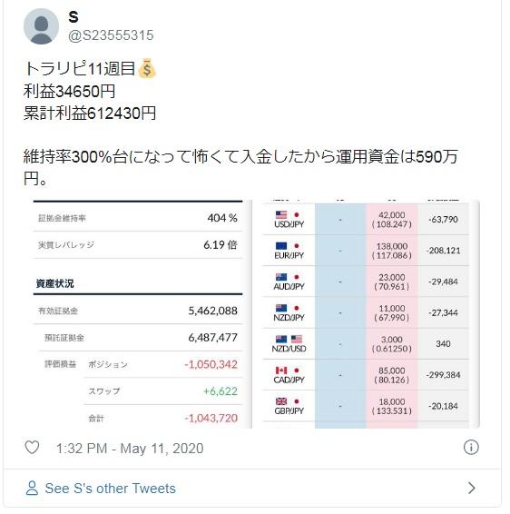 トラリピ11週目 累計利益612,430円